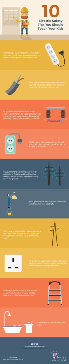 http://www.indigoelectrical.co.uk/kids-electrical-infographic/4591850703  Want your kids to understand the dangers of electricity? Here are 10 things you need to teach them.