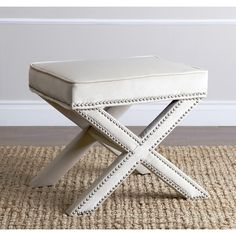 Abbyson Living Marcus Cream Nailhead Trim Ottoman Bench - Overstock™ Shopping - Great Deals on Abbyson Living Ottomans