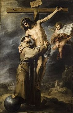 Saint Francis of Assisi embracing the crucified Christ by Bartolome Esteban Murillo. Museum of Fine Arts of Seville, Seville, Spain Catholic Art, Catholic Saints, Religious Art, St Francis Assisi, Esteban Murillo, Lives Of The Saints, Crucifixion Of Jesus, Jesus Christus, The Cross Of Christ