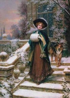 victorian lady with muff and dog
