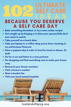 102 Ultimate Self Care Ideas Because You Deserve a Self Care Day!  #selfcare #mentalhealth