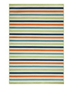 This Green & Blue Baja Stripe Indoor/Outdoor Rug is perfect! #zulilyfinds  love this color scheme for my living room!