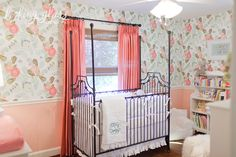 pink and floral nursery, flowers, antique crib, pink curtains, chair rail, lifestyle maternity photography