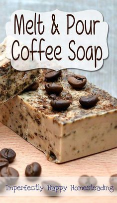 Simple to make Melt and Pour Coffee Soap. The perfect soap for gardeners, chefs or anyone wanting a natural exfoliating soap. soap Easy to Make Melt and Pour Coffee Soap for Coffee Lovers Soap Making Recipes, Homemade Soap Recipes, Homemade Scrub, Homemade Paint, Coffee Soap, Coffee Candle, Coffee Uses, Coffee Scrub, Coffee Coffee