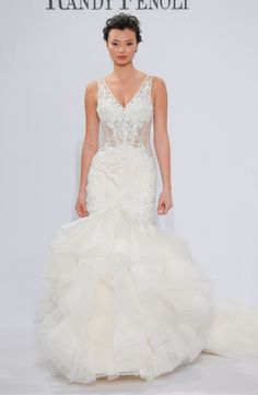 V Neck Mermaid Wedding Dress With Dropped Waist In Lace Bridal Gown Style Number