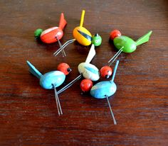Set of Six Adorable Wooden Bird Cake Toppers, Candle Holders, Cupcake Topper, Party Supply, circa 1940s-1950s by UpswingVintage on Etsy