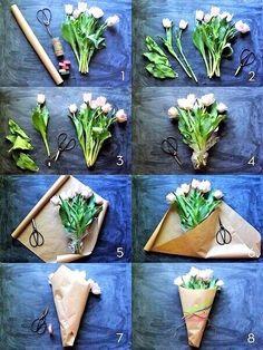 Красивое и простое оформление букета