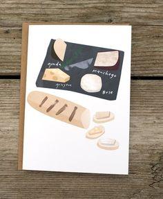 cheese plate A6 card. $3.00, via Etsy.