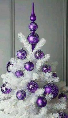 ... Purple Christmas Decorations, Purple Christmas Tree, Beautiful Christmas Trees, Noel Christmas, Christmas Colors, Xmas Tree, All Things Christmas, White Christmas, Christmas Crafts