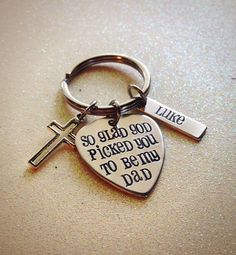 Hand Stamped Dad Keychain Guitar Pick keychain by GabbieGoodies, $15.00, New Dad, New Father, New Baby gift
