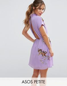 Buy it now. ASOS PETITE PREMIUM Open Back Tea Dress with Tiger Embroidery - Purple. Petite dress by ASOS PETITE, Lightly-textured woven fabric, High neck, Embroidered detail, Button-neck fastening, Cut-out back, Regular fit - true to size, Machine wash, 100% Polyester, Our model wears a UK 8/EU 36/US 4. ABOUT ASOS PETITE 5�3�/1.60m and under? The London-based design team behind ASOS PETITE take all your fashion faves and cut them down to size. Say goodbye to all your short-girl problems w...