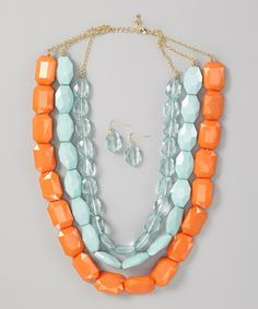 Another great find on #zulily! Khloe Collection Mint & Orange Bead Three-Strand Necklace & Earrings by Khloe Collection #zulilyfinds
