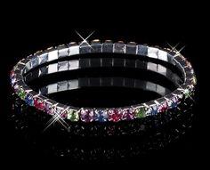 Multi Stone Crystal Elastic Band Bracelet