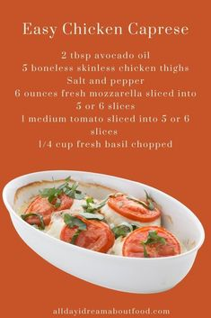 Trust me, this Easy Chicken Caprese is about to become your new favorite keto dinner recipe. Simple to make with only 5 ingredients and the whole family loves it. It's a delicious way to use some of the fresh summer produce and has less than 2g total carbs per serving.