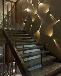modern staircase design ideas living room stairs designs 2019 - Home Design Staircase Lighting Ideas, Stairway Lighting, Staircase Wall Decor, Stair Walls, Stair Wall Lights, Home Stairs Design, Home Design, Home Interior Design, Modern Design