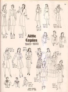 1941-1950 #Vintage Patterns from www.amazondrygoods.com - 100 years in fashion article  http://www.examiner.com/fashion-design-in-phoenix/100-years-of-history-and-fashion