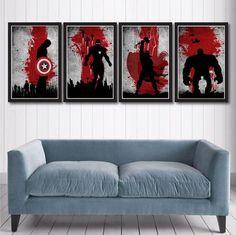 These posters are awesome/ My brother would love them for his mancave. Vintage Avengers Movie Poster Set by MINIMALISTPRINTS on Etsy
