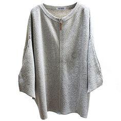 Najia Symbol Womens Casual Full Zip Up Knit Sweater Cardigan Showomen353 (Grey)