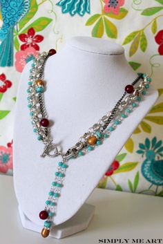 Contemporary Toggle style necklace with an array of color and texture!