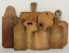 9 antique wooden cutting boards from the late 19th and early 20th centuries