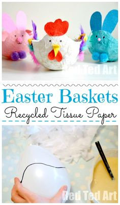 This Chick or Hen Easter Basket is a super cute way to decorate the Easter Table or collect Easter Eggs. It is made from recycled tissue paper, so no paint is needed and they are super easy and thrifty to make - Crafts To Love Paper Crafts For Kids, Easy Crafts For Kids, Preschool Crafts, Homemade Easter Baskets, Easter Baskets To Make, Basket Crafts, Bunny Crafts, Easter Art, Easter Eggs