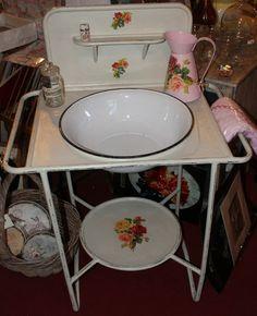 Original Vintage Wash stand and enamel Basin – Rose Reclaim