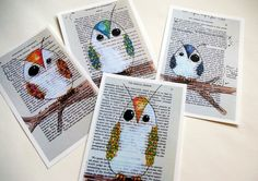 owl drawings on vintage pages ripped out from old book