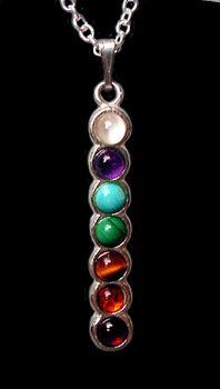 1.5 Inch Silver Chakra Gemstone Pendant Necklace