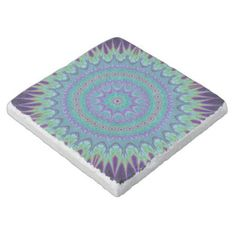 Explosive mandala ball stone coaster $11.00 *** Explosive mandala ball - colorful fractal design - coaster