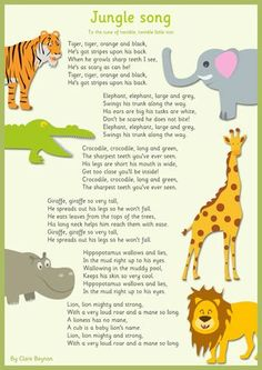 Movement Activities/Games-Have teacher sing every part except animals name and ask the kids what animal they think s/he described: