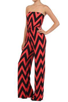 Orange Chevron Strapless Tube Top Belted Tie Jumpsuit Romper Jumper Tall Pants