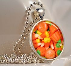 resin cabachon filled with image of candy corn and other halloween yummies!