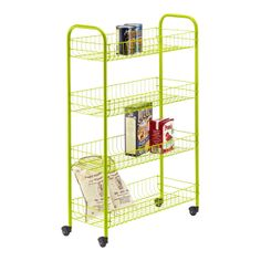 narrow metal rolling cart   The Container Store > Green 4-Tier Slim Rolling Cart