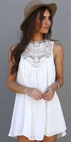 White Plain Lace Hollow-out Sleeveless Cotton Blend Mini Dress - Mini Dresses - Dresses
