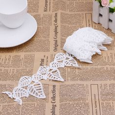 Exquisite Hollow White Leaves Lace Embroidery Applique Trim Sewing Fabric DIY-Y102