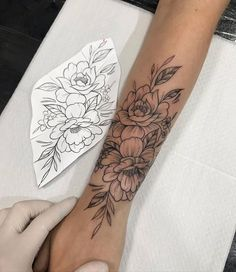 Arm Cover Up Tattoos, Arm Tattoos For Women Forearm, Rose Tattoos For Women, Tiny Tattoos For Girls, Sleeve Tattoos For Women, Cover Tattoo, Female Thigh Tattoos, Lily Tattoo Sleeve, Back Of Forearm Tattoo