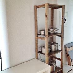 myumiponさんの、IVAR,鍋,IKEA,フィスラー,fissler,鍋を買うまでに数年,鍋を置く棚を買うまでに数ヶ月,鍋を置く棚の加工に2日,鍋を置く棚の組立てから設置に15分,棚,のお部屋写真