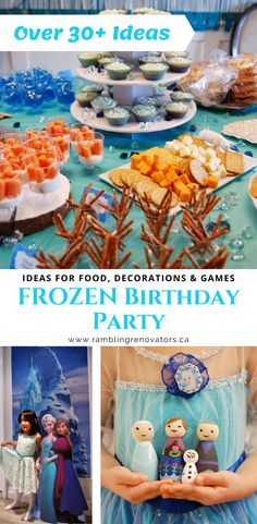 Over 30 Disney Frozen birthday party ideas. Create a Frozen birthday party theme with these ideas for decorations, games, and food menu. Frozen 3rd Birthday, Frozen Themed Birthday Party, Elsa Birthday, Disney Frozen Birthday, 4th Birthday Parties, 5th Birthday, Birthday Ideas, Frozen Themed Food, Frozen Party Food