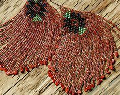 Saltwater Coral - Long Beaded Fringe Earrings