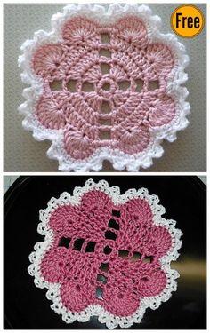Hearts Around Doily Free Crochet Pattern Crochet Coaster Pattern, Crochet Motifs, Granny Square Crochet Pattern, Crochet Flower Patterns, Crochet Stitches Patterns, Crochet Squares, Crochet Flowers, Knitting Patterns, Free Pattern