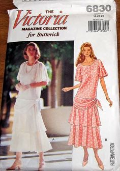 Butterick 6830 Flounced Flapper Dress Womens Misses Vintage Victoria Magazine Sewing Pattern Size 18 20 22 Bust 40 42 44 Uncut Factory Folds by RosesPatternsEtc on Etsy