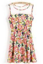 Pink Sleeveless Insert Top Florals Print Dress $24.26