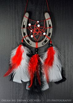 Blackhawks themed red black and white Horse shoe dream catcher feathers and beading. Handmade wall hanger