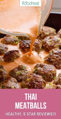Healthy Thai meatballs recipe with turkey, coconut milk, red curry paste and zucchini Asian Recipes, Gourmet Recipes, Cooking Recipes, Healthy Recipes, Clean Eating Recipes, Clean Eating Snacks, Healthy Eating, Seitan, Thai Meatballs Recipe