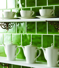 Lime green field tiles from The Winchester Tile Company. www.winchestertiles.com.