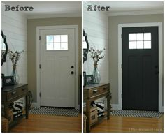 Before And After Entryway Showing Front Door Painted SW Iron Ore.