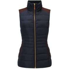 Phase Eight Georgie Gilet, Navy ($71) ❤ liked on Polyvore featuring outerwear, vests, sleeveless vest, navy blue vest, navy blue waistcoat, sleeveless waistcoat and padded vest