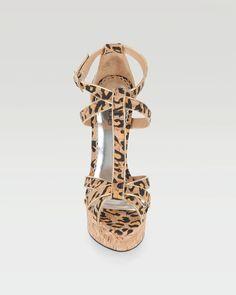 bebe | Fabiana Animal Print Cork Sandal - WEB EXCLUSIVE