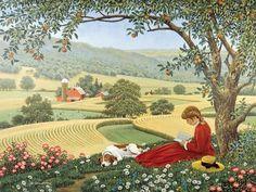 57 Ideas for life tree illustration sweets Henri Rousseau, Farm Art, Tree Illustration, Country Scenes, Naive Art, Country Art, Farm Life, Beautiful Paintings, Vintage Art