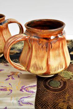 geometric Beer Stein faceted ceramic mug in rust and brown
